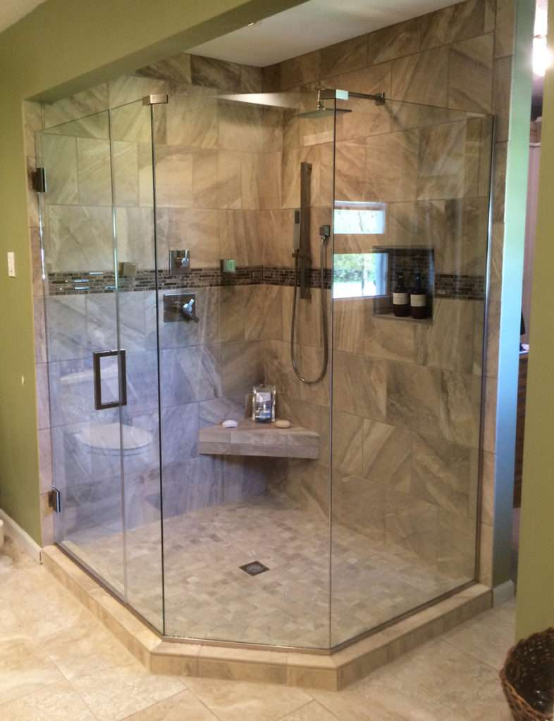 Midwest Glass and Mirror Frameless Heavy Glass Shower Enclosure